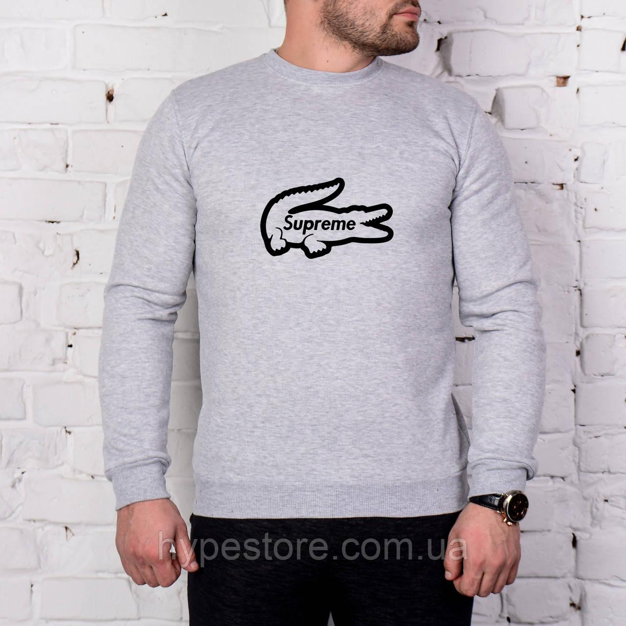 Мужской спортивный серый свитшот, кофта, лонгслив, реглан Supreme X Lacoste, Реплика