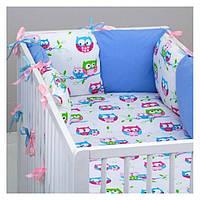 Комплект в кроватку Хатка 17 в 1 Совы с синим