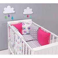 Комплект в кроватку Хатка 17 в 1 Совы розовый с серым