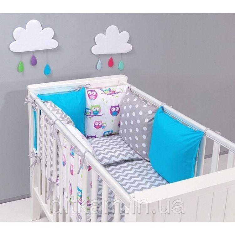 Комплект в кроватку Хатка 17 в 1 Совы серый с синим