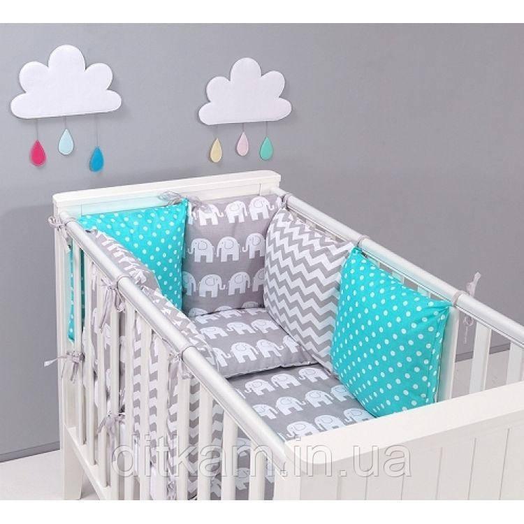 Комплект в кроватку Хатка 17 в 1 Слоны серый с мятным
