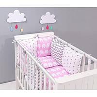 Комплект в кроватку Хатка 17 в 1 Слоны на розовом с серыми звездами
