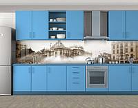 Ретро фото города, Наклейка на кухонный фартук, Архитектура, серый