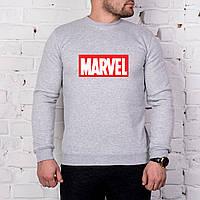 Мужской спортивный серый свитшот, кофта, лонгслив, реглан Marvel, Реплика