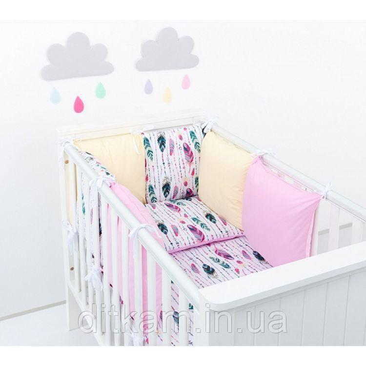Комплект в кроватку Хатка 17 в 1 Перья розовый