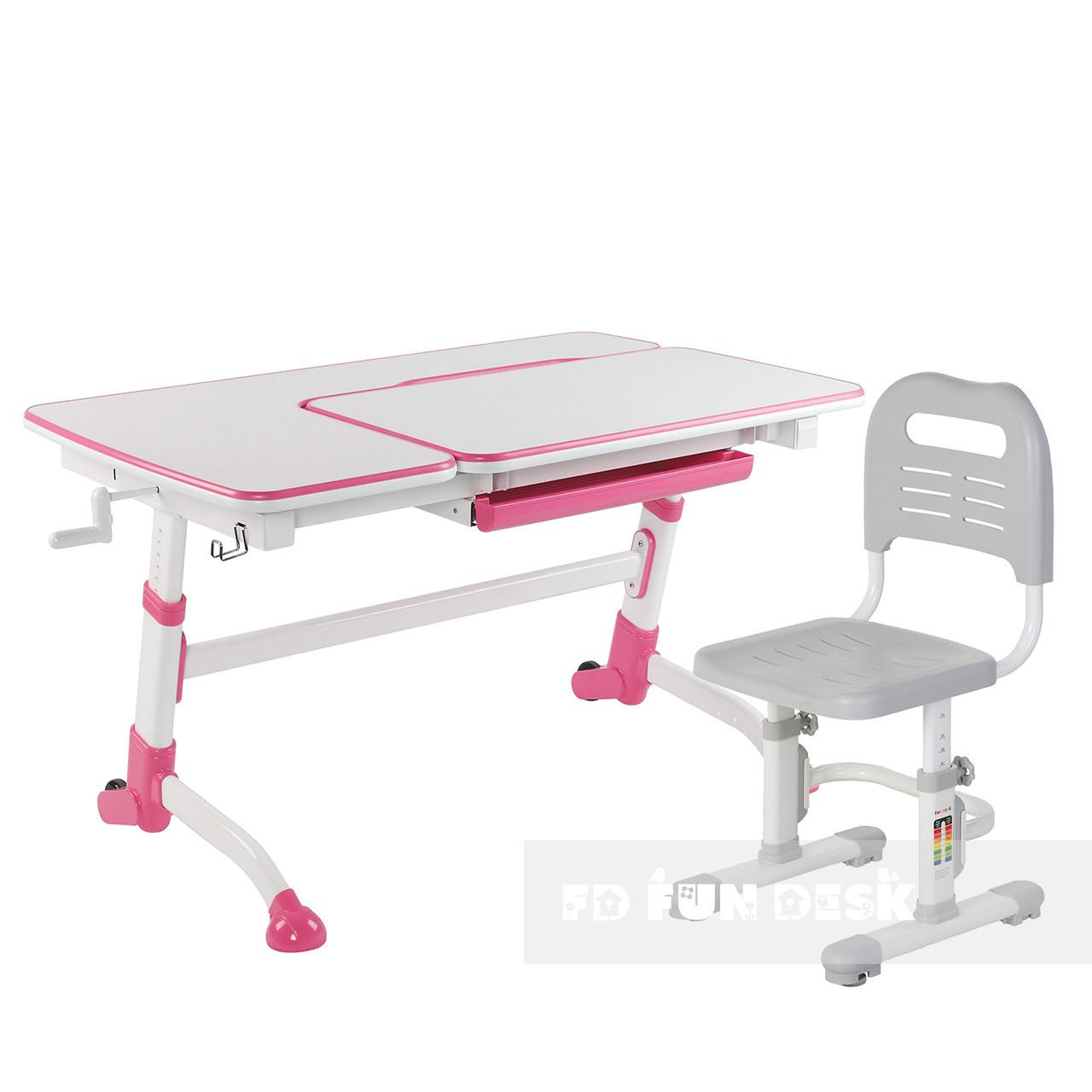 Комплект подростковая парта Amare Pink + детский стул SST3L Grey FunDesk