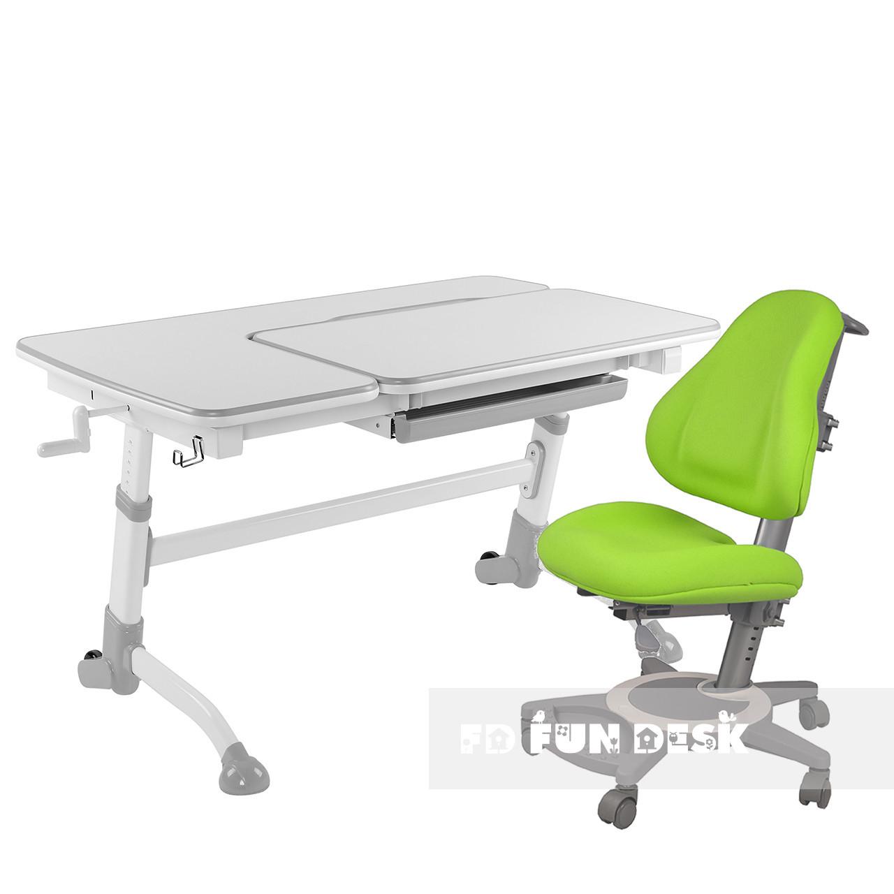 Комплект подростковая парта для школы Amare Grey + ортопедическое кресло Bravo Green FunDesk