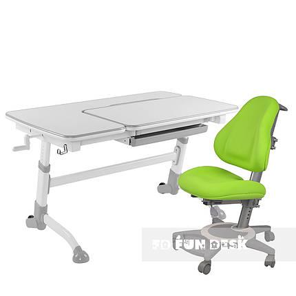 Комплект подростковая парта для школы Amare Grey + ортопедическое кресло Bravo Green FunDesk , фото 2