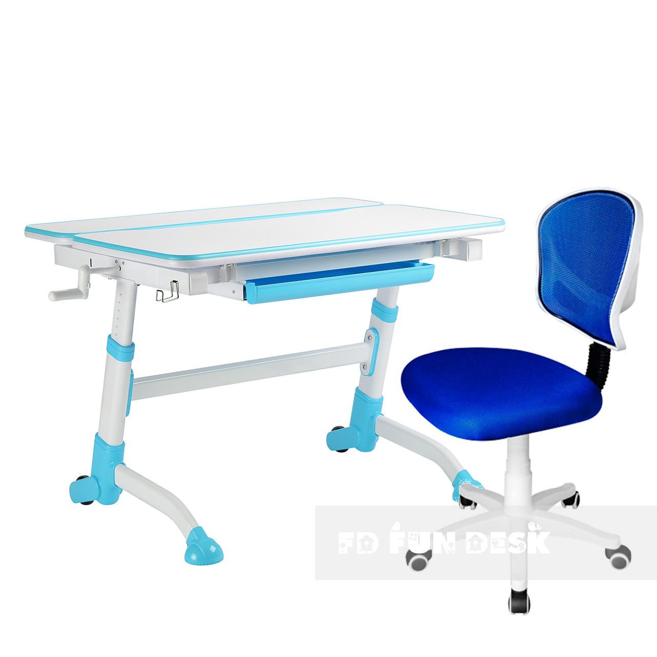 Комплект растущая парта Volare Blue + детский стул LST6 Blue FunDesk
