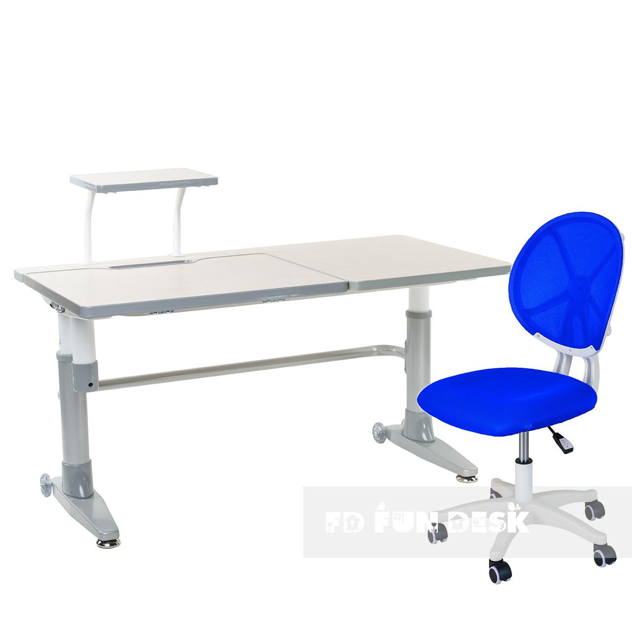 Комплект парта Ballare Grey с выдвижным ящиком + детское кресло для школьника LST1 Blue FunDesk