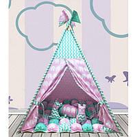 Вигвам Хатка комплект Бонбон Слоны Розовый с мятой с подушками