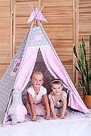 Вигвам Хатка комплект Принцесса Розовый с серым с подушкой, фото 1
