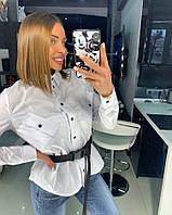 55e7a4aa80a245f Стильная, женская рубашка с высоким воротником и асимметричными карманами