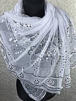 "Белый шарф-платок с пайетками ""Павлин"" (цв 01)"