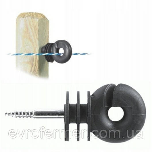 Изолятор для проволоки или шнура под деревянные столбики