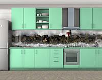 Маяк и волнорез, камни и волны, Стеновая панель для кухни с фотопечатью, Природа, коричневый