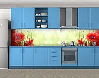 Красные маки, Стеновая панель для кухни с фотопечатью, Цветы, зеленый