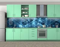 Проект, Фотопечать кухонного фартука на самоклейке, Абстракции, синий