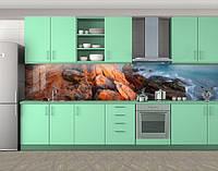 Красные камни и море, Самоклеящаяся стеновая панель для кухни, Природа, коричневый