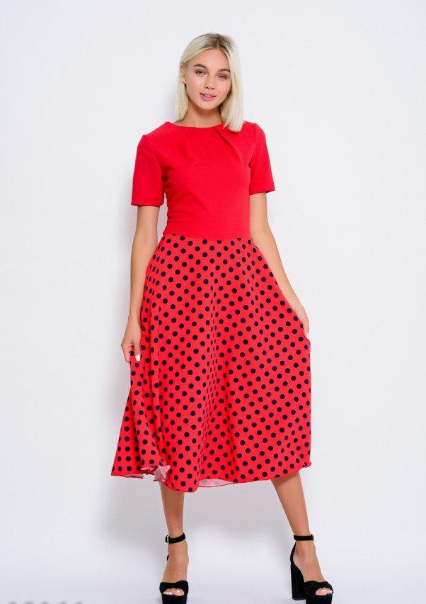342f2e39c09e540 Платье Красное комбинированное миди с расклешенной юбкой в горошек  (S,M,L,XL), цена 520,30 грн., купить в Одессе — Prom.ua (ID#924686415)