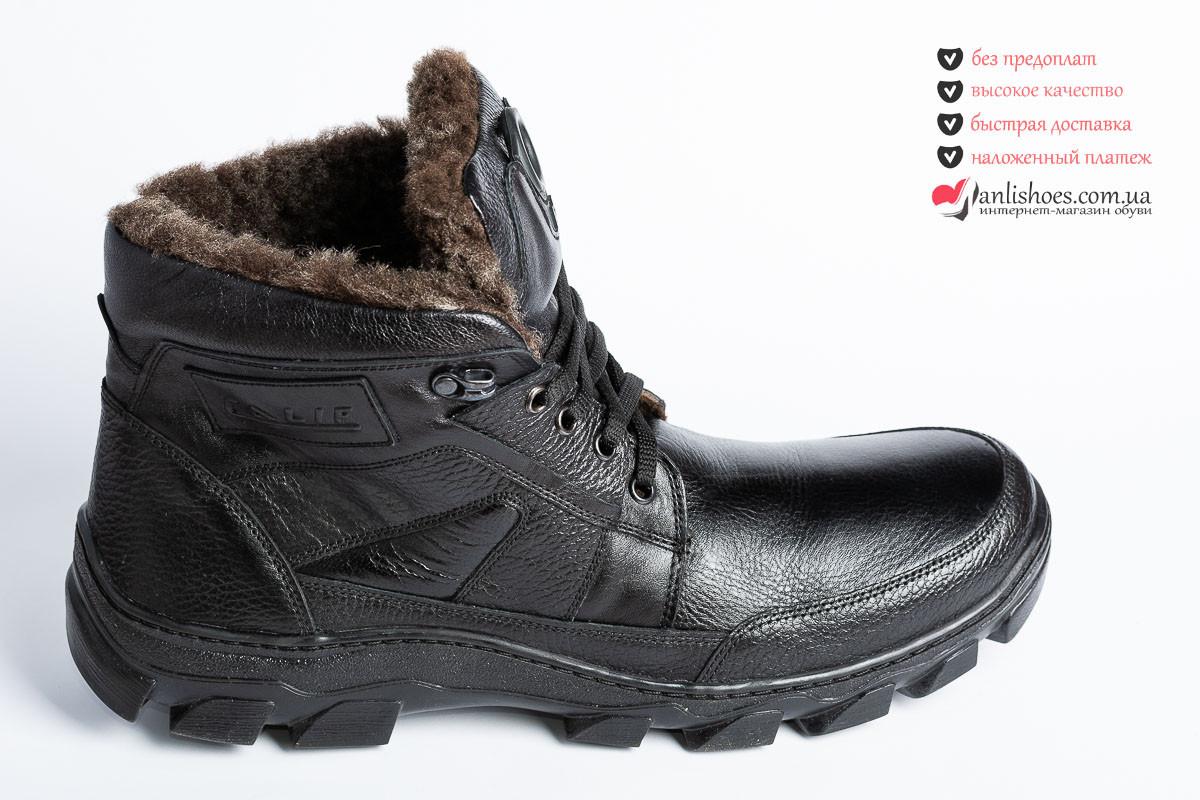 158198641 ♚Ботинки зимние мужские, натуральная кожа, на шнурках и змейке. Мужские  ботинки кожаные