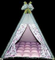 Вигвам Хатка комплект Балерины с мягким ковриком розовый с серым
