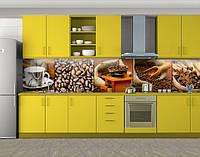 Кофе в мешке и кофейные зерна, Стеновая панель для кухни с фотопечатью, Еда, напитки, коричневый