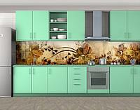 Винтажные Нарциссы, Самоклеящаяся стеновая панель для кухни, Цветы, коричневый