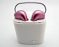 Розовые беспроводные стерео наушники  HBQ I7s TWS (аналог Apple AirPods)