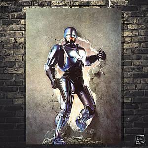 Постер RoboCop, Робокоп, Робот-полицейский ломает стену. Размер 60x42см (A2). Глянцевая бумага