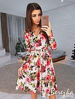 Платье женское модное на запах цветочный принт с поясом разные расцветки Smb3084