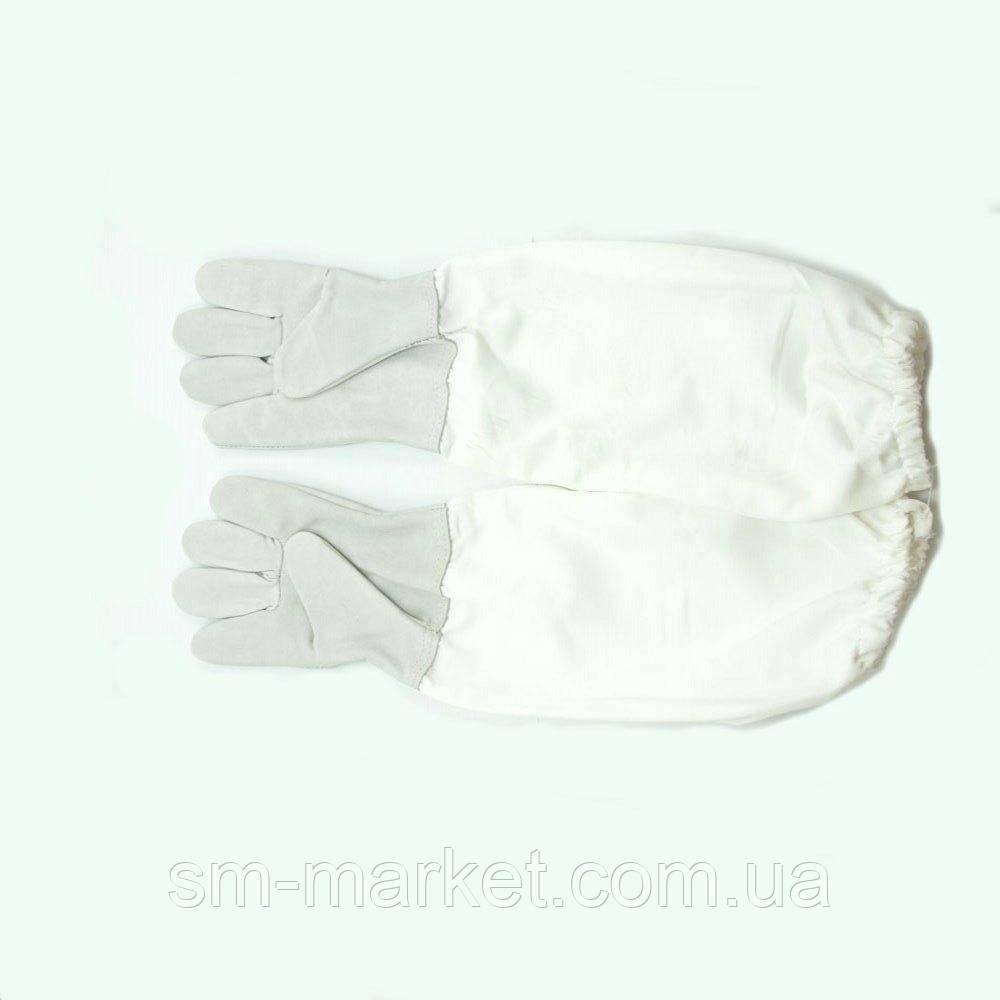 Кожаные перчатки с нарукавниками «Beeland» Lux (серые)