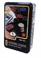 Настольная игра J02070 покер, фишки, карты, в кор-ке (металл), 19,5-12-5 см