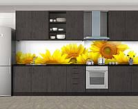 Сочные подсолнухи, Кухонный фартук на самоклеящееся пленке с фотопечатью, Цветы, желтый
