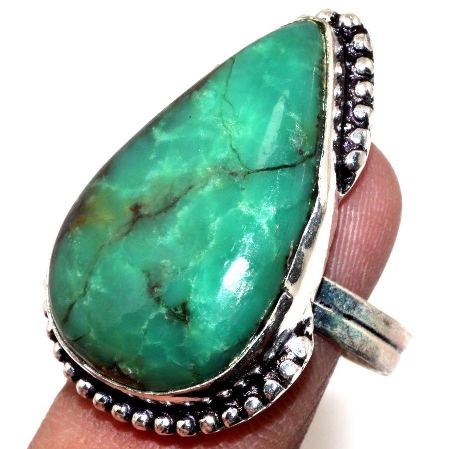 Красивое кольцо капля природный хризопраз в серебре. Кольцо с хризопразом 18-18,5 размер Индия!