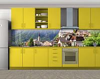 Кухонный фартук Швейцария город под горой, виниловая самоклеющаяся пленка, наклейка на кухню, скинали на стену, Зеленый, 600*3000 мм