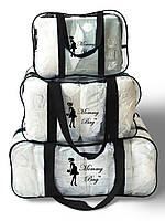 Набор из 3 прозрачных сумок в роддом Mommy Bag сумка - S,M,L - Черные