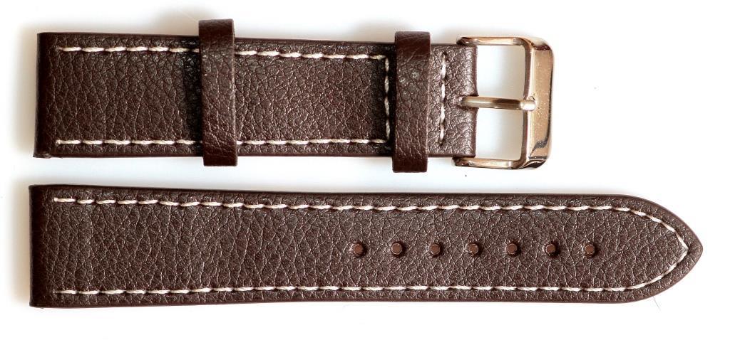 Ремешок кожаный SOLETTA 22 мм, коричневый с белой строчкой