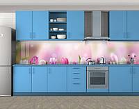 Соната тюльпанов, Фотопечать кухонного фартука на самоклейке, Цветы, розовый