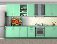 Национальная роспись и мрамор, Защитная пленка на кухонный фартук с фотопечатью, Текстуры, фоны, бежевый
