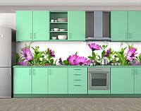 Милая клумба, Пленка для кухонного фартука с фотопечатью, Цветы, белый