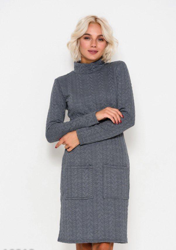 f56eafbda47 Платье Серое прямое из фактурного трикотажа с воротником-стойкой и  карманами (есть размеры)