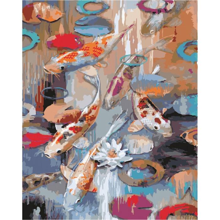 """Картина по номерам. Животные, птицы """"Карпы кои"""" 40х50см. KHO2481"""