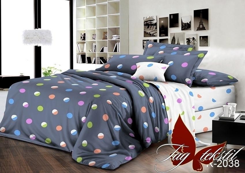 Полуторный комплект постельного белья ренфорс белья с компаньоном R2038-2