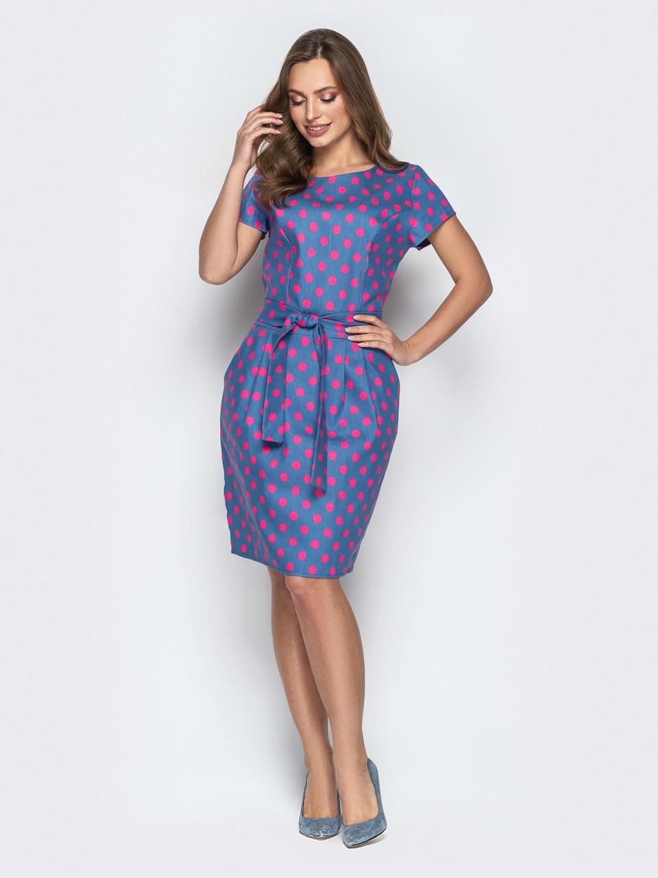 57f0f402db9 Стильное женское платье в горошек с коротким рукавом р.44