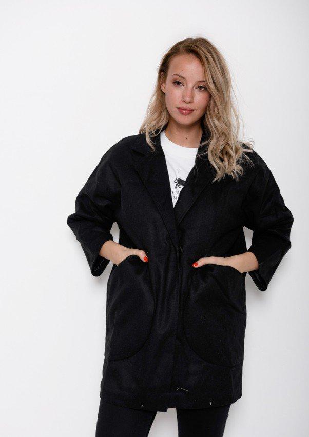 7162d0a8df3 Черное пальто-кокон из кашемира с вместительными карманами