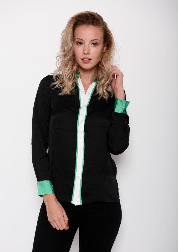cad19a84d09 Черная тонкая рубашка с воротником-стойкой и бело-зелеными вставками (есть  размеры)