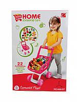 Детский игровой набор Тележка Супермаркет (Розовая)