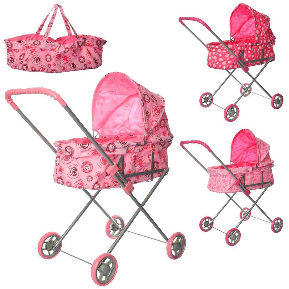 Кукольная коляска металлическая, корзинка, высота до ручки - 61см, в кульке