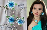 Серьги и кольцо с голубыми розами из полимерной глины